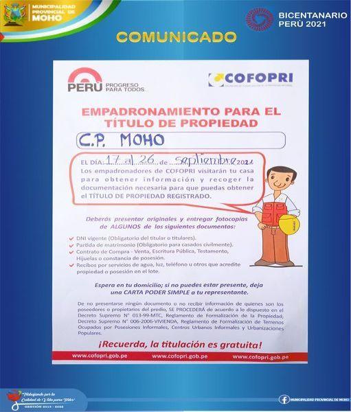 FORMALIZACIÓN DE LA PROPIEDAD PRIVADA INFORMAL – COFOPRI